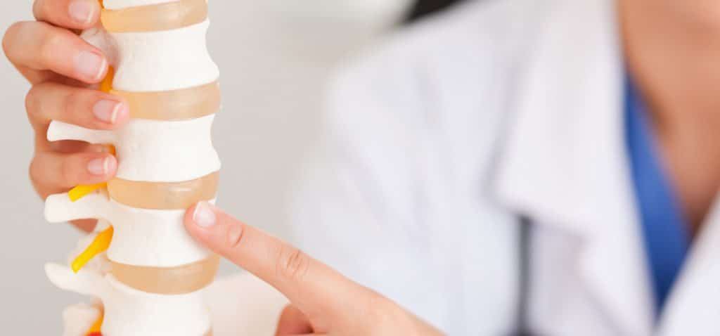 doctor pointing to spine model